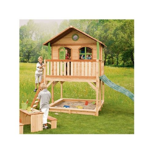 Fritton Playhouse - Jumbo Kids Wooden Wendy House with Wavy Slide and Sandpit